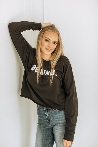 Be Kind Black Crop Long Sleeve