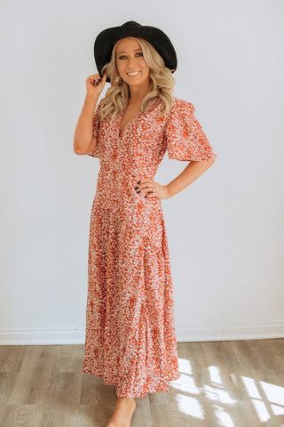 Cascade Rust Floral Dress