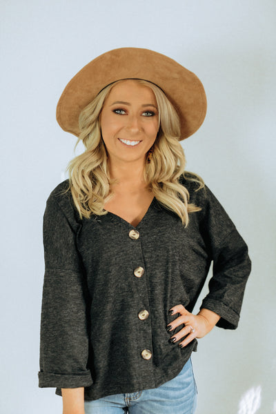Wilma Charcoal Button Top