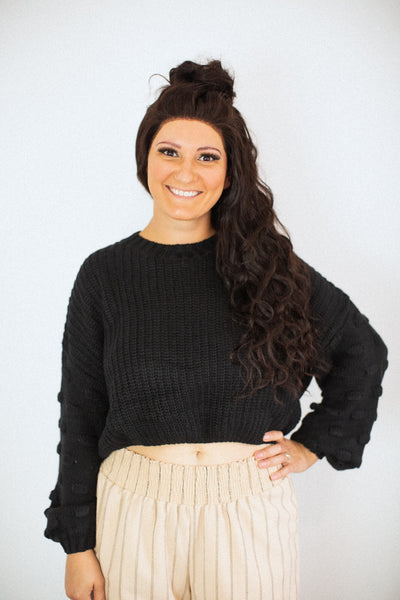 Ericka Black Dot Crop Sweater