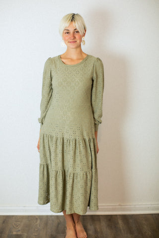 Lorena Sage Eyelet Dress