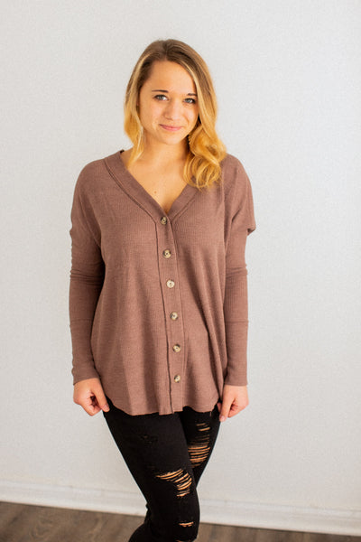 Izzy Mocha Button Down