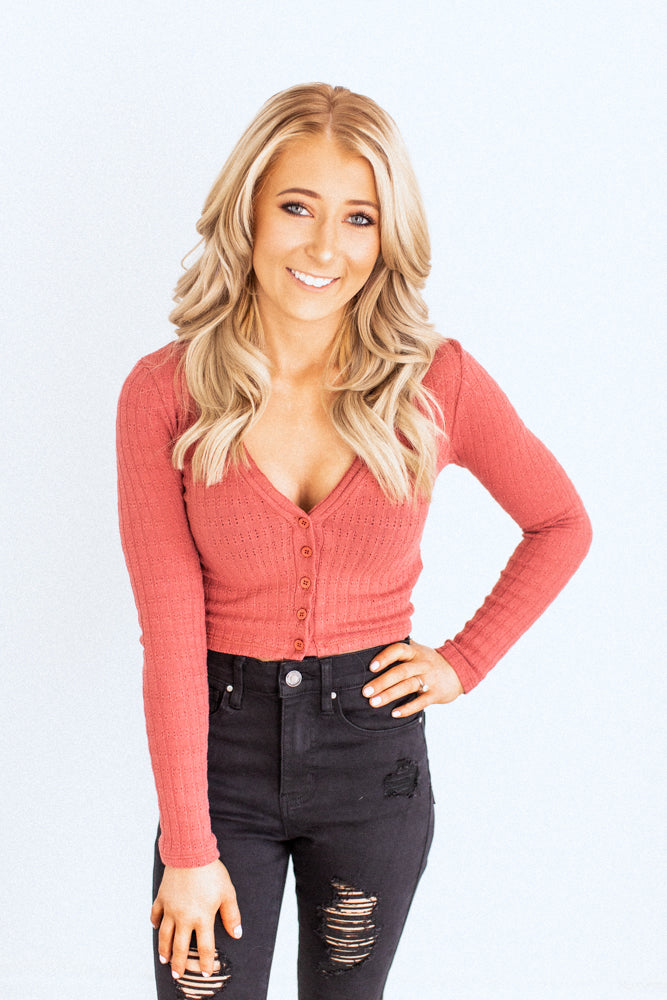 Alena Rust Button Crop