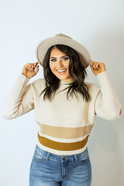 Callie Tan Stripe Sweater
