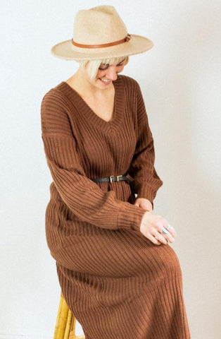 Isla Camel Sweater Dress