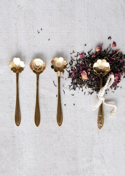 Floral Gold Steel Spoon Set