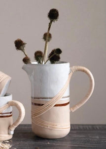 Stoneware Pitcher w/ Rattan Wrapped Handle
