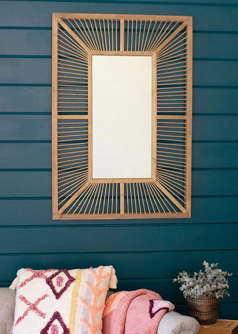 Grey Wood Rectangle Bamboo Mirror (Pickup Only)
