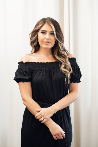 Talia Black Off-Shoulder Maxi