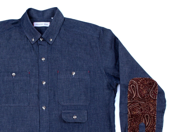 LONG SLEEVE DENIM POLO PAISLEY