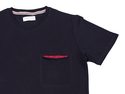 BLACK ETHNIC PRINT SLIT POCKET TEE