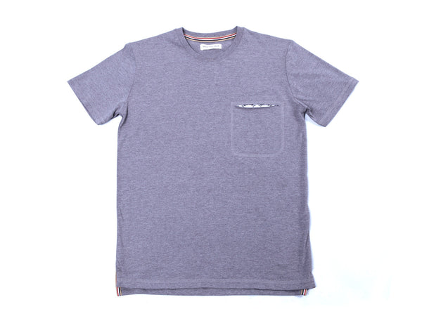 HEATHER GRAY ETHNIC PRINT SLIT POCKET TEE