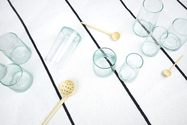 Moroccan Beldi Glasses & Lemon Wood Utensils - Paper Plane Editorial
