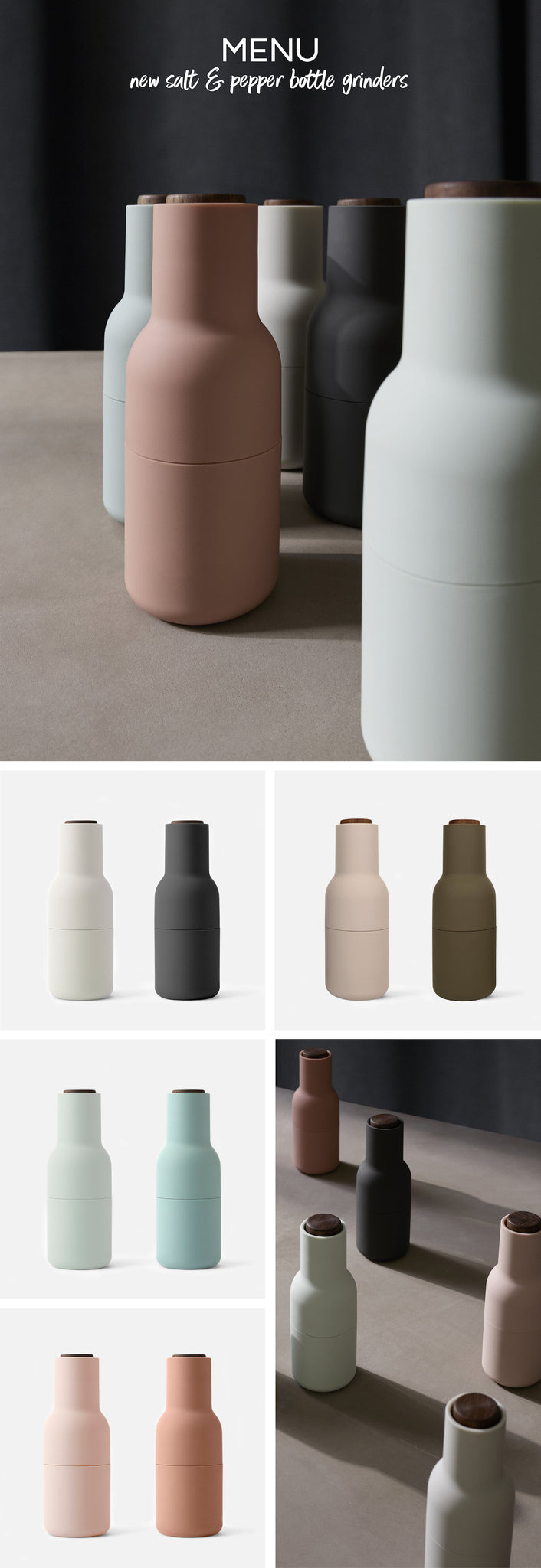 Moody Hues - Menu - Salt + Pepper Bottle Grinders