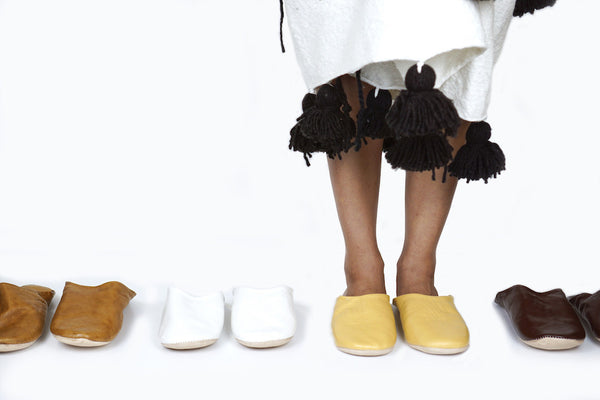 Moroccan Leather Babouche Slippers - Paper Plane Editorial