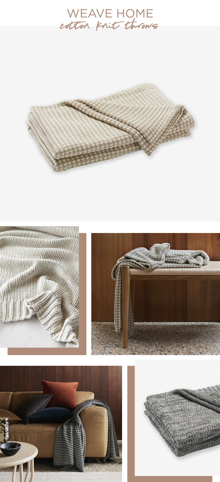 Simple & Natural - Weave Home - Cotton Knit Throws