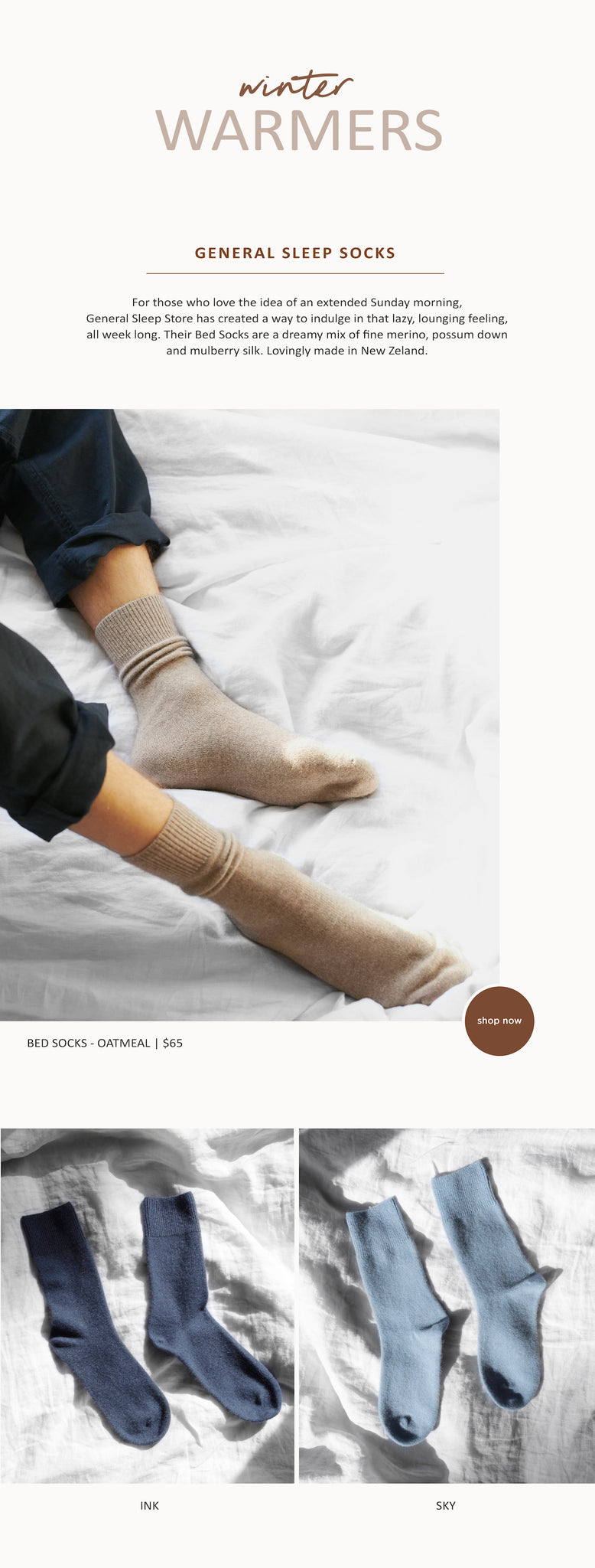 Winter Warmers – General Sleep – Bed Socks - Paper Plane Store – Mount Maunganui