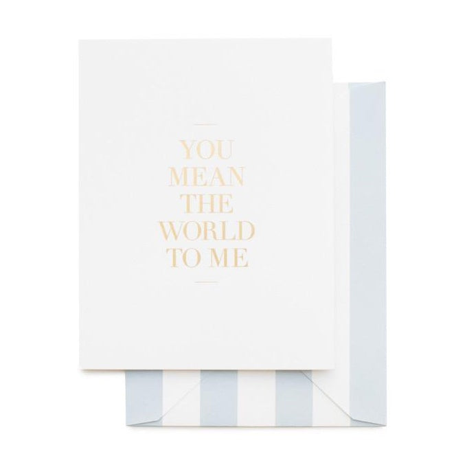 Card - You Mean the World to Me - Sugar Paper - Paper Plane - NZ