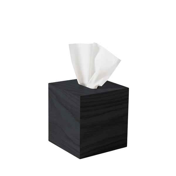 Oku Wooden Square Tissue Box - Black - Citta Design - Paper Plane - NZ Stockist - Bin - Organising