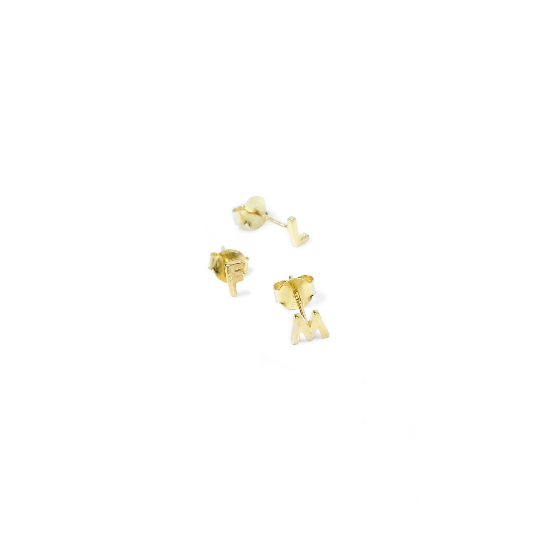 Sophie - Little Letter Earrings - Gold