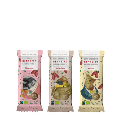 Bennetto - Mini Dark Chocolate Bars - Paper Plane - NZ Stockist - Food - Gifts