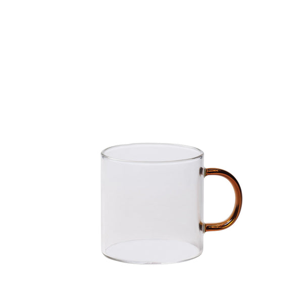 Glass Mug w/ Coloured Handle - Clear / Amber - Citta - Mt Maunganui Stockist - Paper Plane