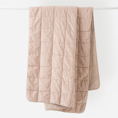 Washed Velvet Quilted Throw - Clay - Paper Plane - Citta