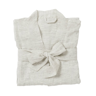 Pinstripe Women's Linen Dressing Gown - Pepper / Chalk - Citta Design - Paper Plane - NZ Stockist - Robe - Bathroom