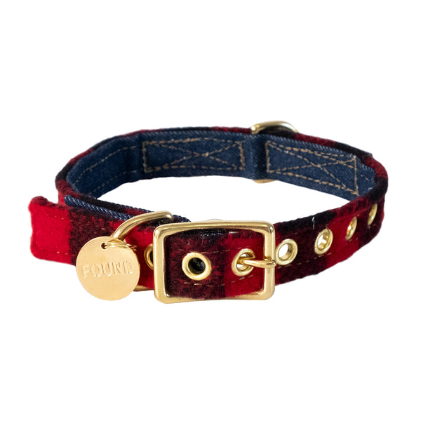 Dog Collar - Red & Black Plaid
