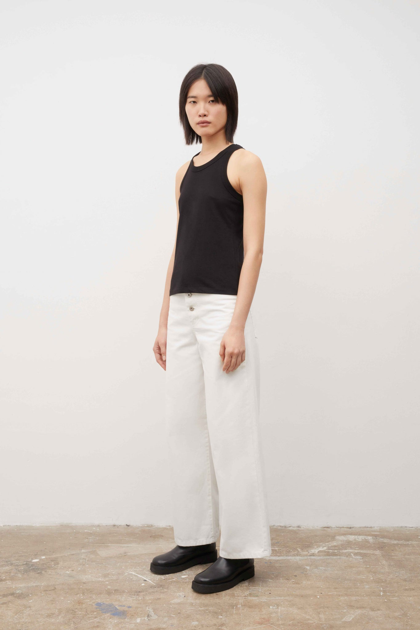 Kowtow - Organic Cotton Racer Back Singlet - Black - Paper Plane - NZ