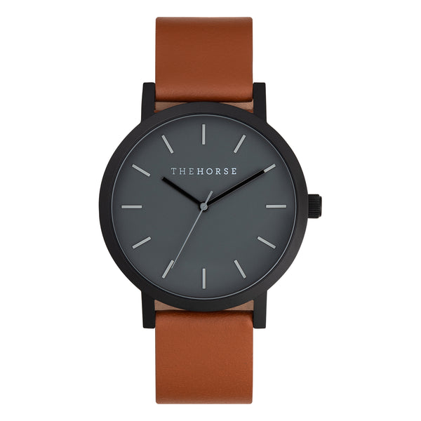 the horse watch nz black face tan leather strap