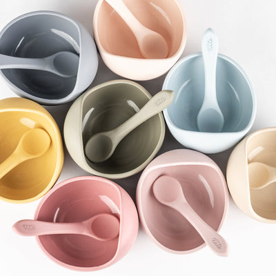 Suction Bowl & Spoon - Grey