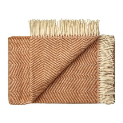 NZ Lambswool Throw - Lindis Apricot - Weave Home