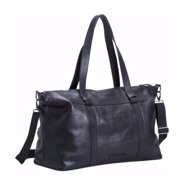 Mand Leather Overnight Bag - Black - Elk - Paper Plane - NZ Stockist