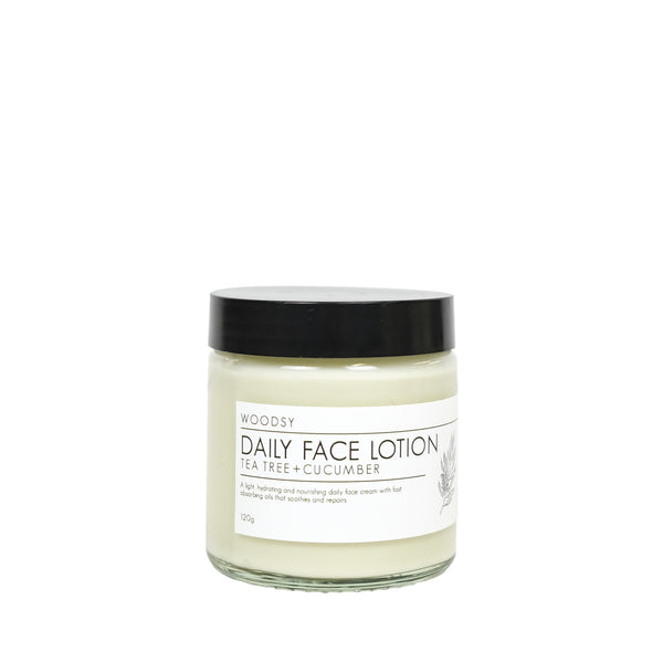Daily Facial Lotion - Tea Tree & Cucumber - Woodsy Botanics - NZ