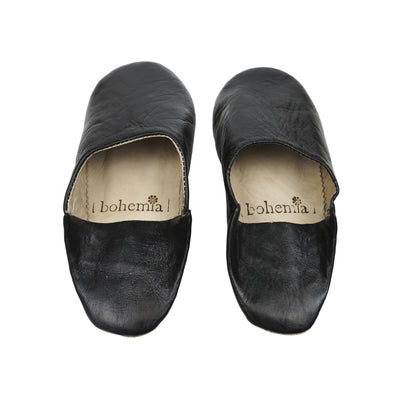 Leather Moroccan Babouche Slippers - Black