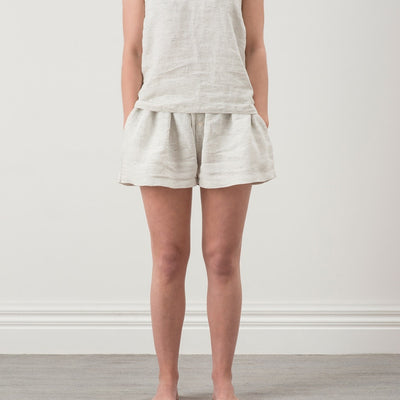Pinstripe Linen Shorts - Pepper / Chalk