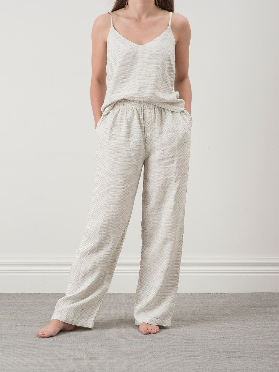 Pinstripe Linen Pants - Pepper / Chalk