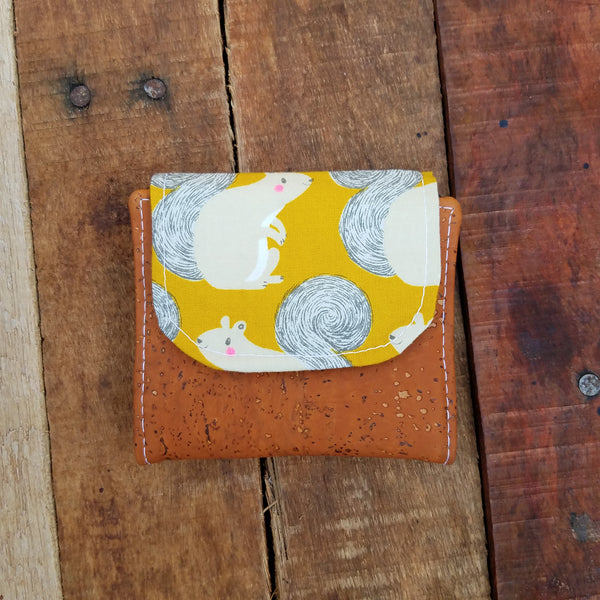 Mini Cork Slimline Wallet: Squirrels