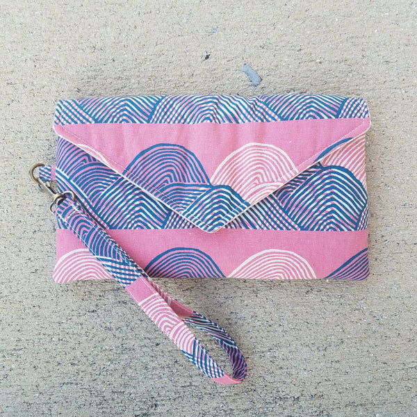 Envelope Clutch in Pink and Half Circles