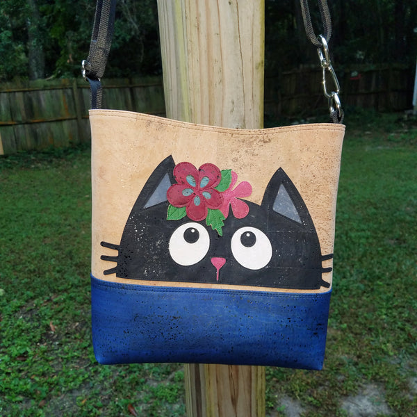 Cat & Flowers Cork Open Top Crossbody