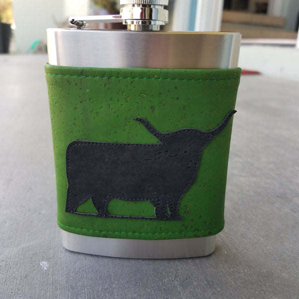 Green & Black Cow, 8 oz Flask