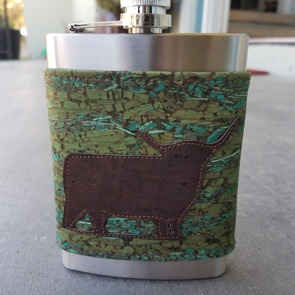 Green Fennel & Brown Cow, 8 oz Flask