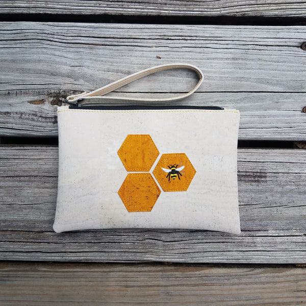 Bee & White Cork Clutch