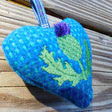Thistle Embroidery Harris Tweed Heart Ornament