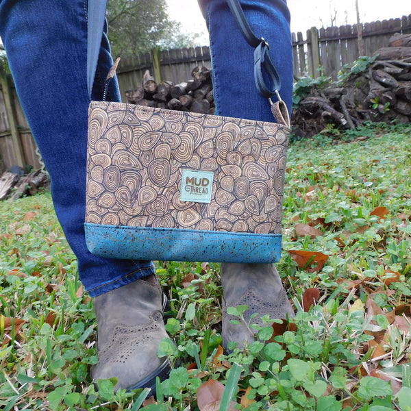 Black Doodles & Blue Cork Shoulder Bag
