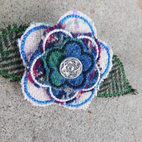 Blue& Green Tweed Brooch