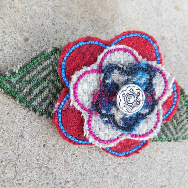 Multi color Tweed Brooch