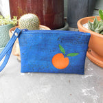 Deep Blue & Orange Cork Clutch