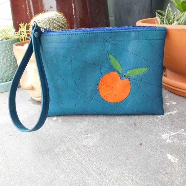 Teal Blue & Orange Cork Clutch